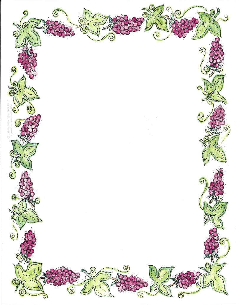 Border Design Paper Shabbat Grapes 50 Sheets