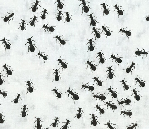 Passover Fabric: Plague #4 Flies or Lice on White